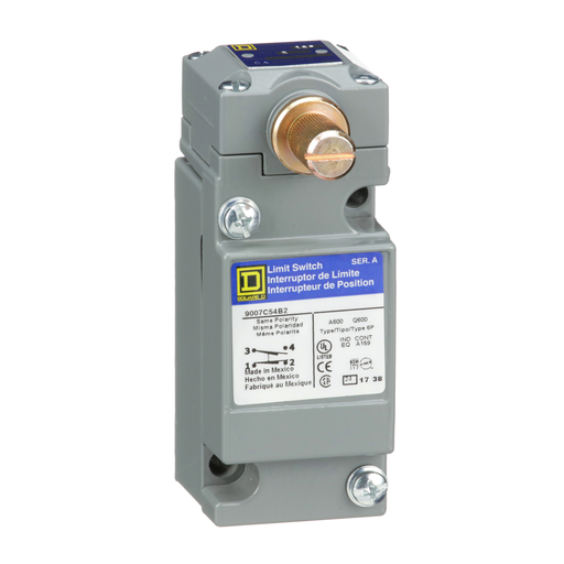 Mayer-limit switch, 9007C, full body, rotary lever arm, standard pretravel, spring return, 1 NO and 1 NC, NEMA 4 and 13-1
