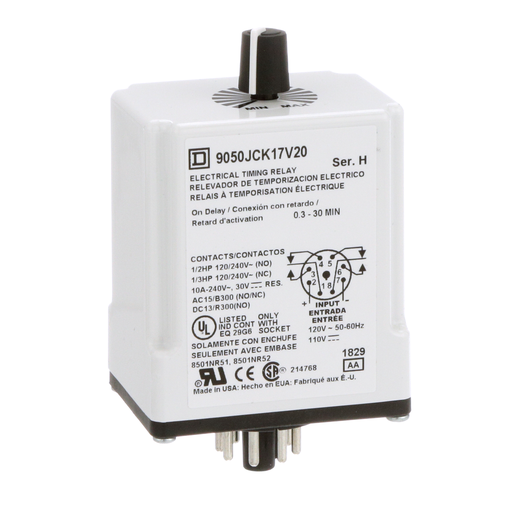 Mayer-Timing Relay, Type JCK, plug In, on delay, adjustable time, 0.3 to 30 minutes, 10A, 240 VAC, 120 VAC/110 VDC-1