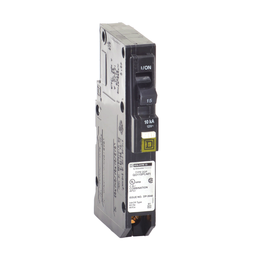Mayer-Mini circuit breaker, QO, 15A, 1 pole, 120VAC, 10kA, combo arc fault, plug on neutral, plug in mount-1