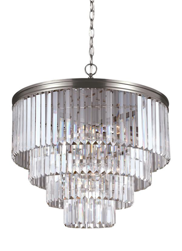 3114006-965 Carondelet Six Light Carondelet Six Light Chandelier in Antique Brushed Nickel with Prismatic Glass Crystal Nickel with Prismatic Glass Crystal