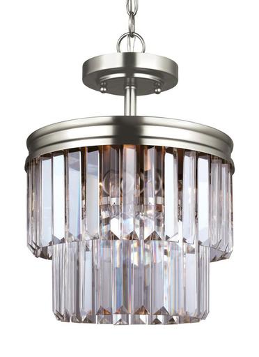 SEG 7714002-965 CARONDELET 2 LIGHT SEMI-FLUSH CONVERTIBLE PENDANT ANTIQUE BRUSHED NICKEL W/PRISMATIC GLASS CRYSTAL