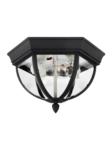 SEG 78136-12 1 LIGHT OUTDOOR CEILING BLK IN BLACK FINISH W/CLEAR BEVELED GLASS