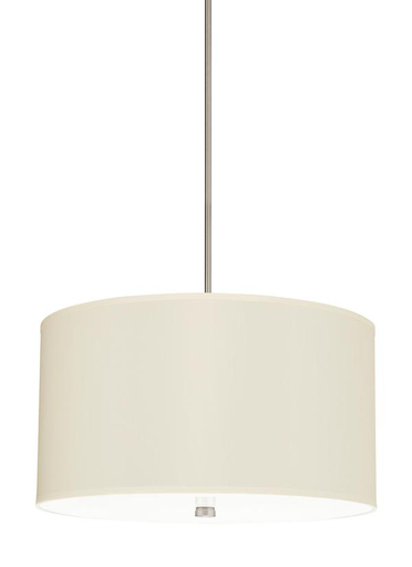 SEG 65262-962 DAYNA FOUR LIGHT SHADE PENDANT IN BRUSHED NICKEL WITH CREAM FAUX SILK SHADE Cream Faux Silk Shade