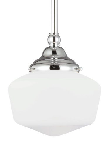 65436-05 Academy One Light Pendant Academy One Light Pendant in Chrome with Satin White Schoolhouse Glass Schoolhouse Glass