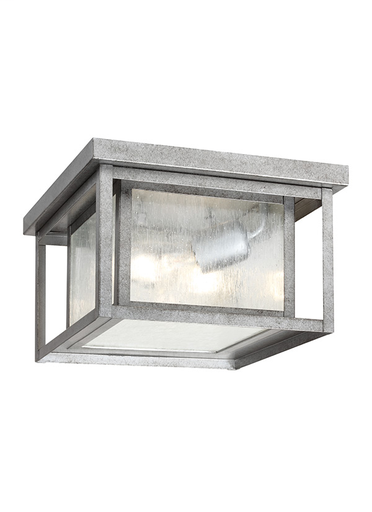 SEG 78027-57 HUNNINGTON TWO LIGHT OUTDOOR FLUSH MOUNT IN WEATHERED PEWTER WITH CLEAR SEEDED GLASS