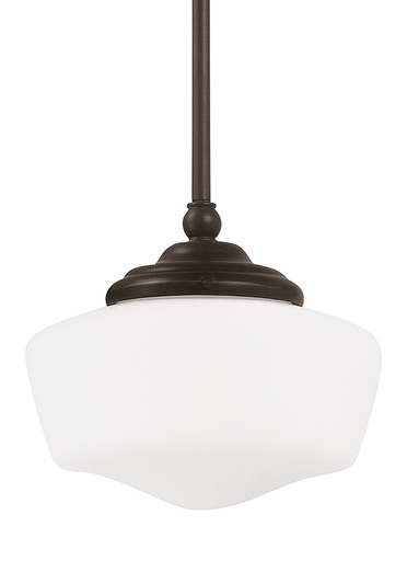 SEG 65436-782 ACADEMY SMALL 1 LIGHT PENDANT IN HEIRLOOM BRONZE W/SATIN WHITE SCHOOLHOUSE GLASS