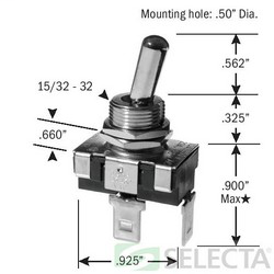 SEL SS113-BG SPST 1 POLE 20A 125V BAT ON-OFF MAINTAINED CONTACT TOGGLE SWITCH