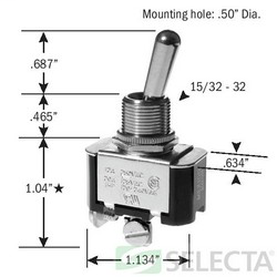 Selecta Products SS206S-BG 125/250 VAC 20/10 Amp 1-Pole Maintained Toggle Switch