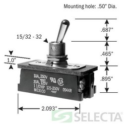 Toggle Switch, DPST, ON-OFF, 20 Amp 125V