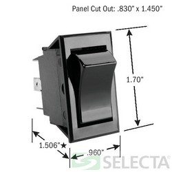 Selecta Products SS1105-BG 125 to 277 VAC 20 Amp DPDT Rocker Switch