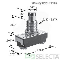 SEL SS228-BG 15A SPST PB OPEN PUSHBUTTON SWITCH (ON) OFF