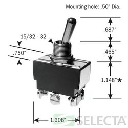 SELECTA-SW SS208R-BG 20A 125V DPDT MAINTAINED TOGGLE SWITCH SCREW TERMINALS