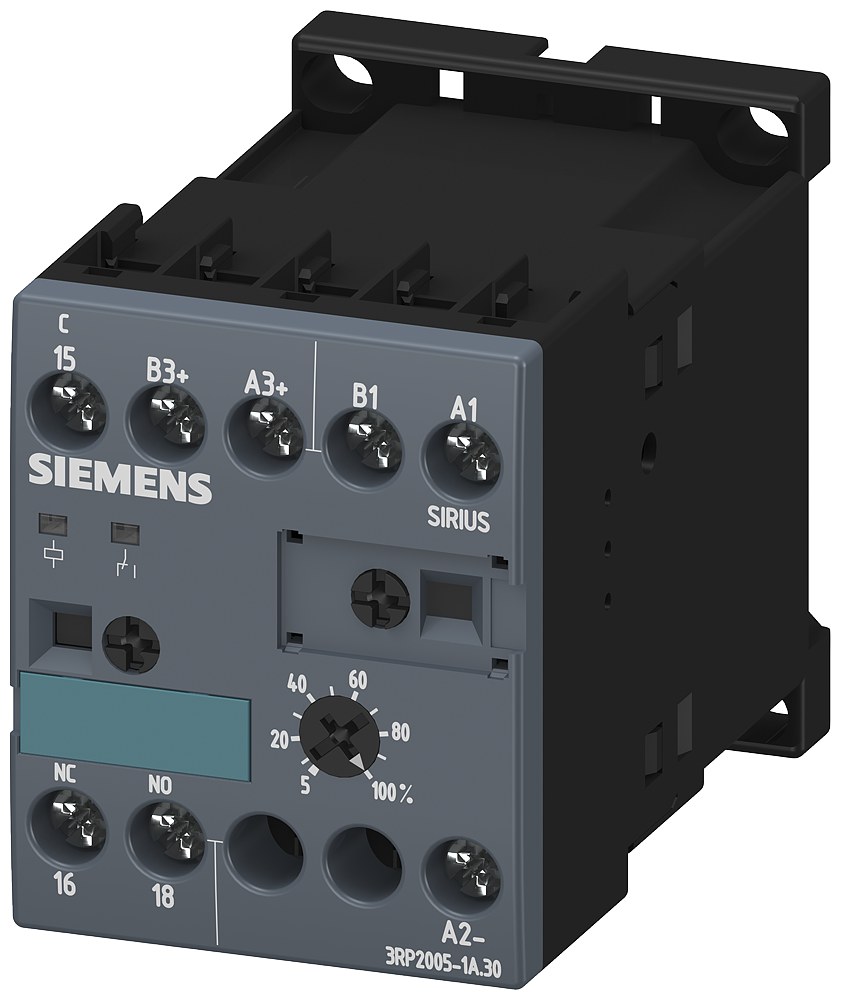 Siemens Industry 3RP2005-1AQ30 24 VAC/VDC 100 to 127 VAC 0.05 Second to 100 Hour 1CO Electronic Solid State Timing Relay