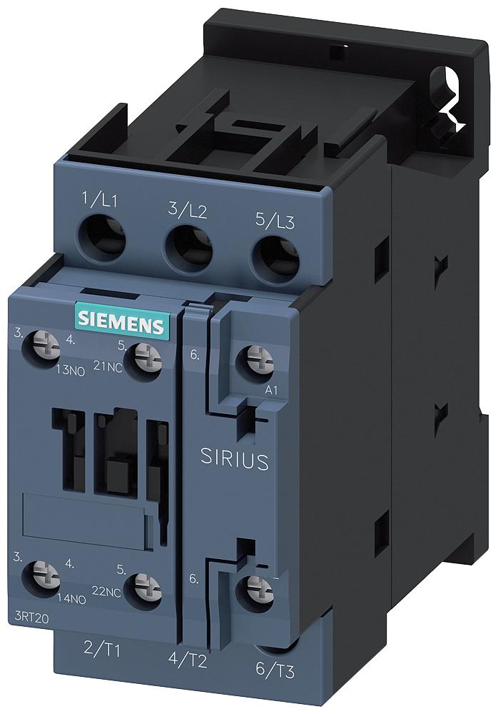 Siemens Industry 3RT20231AK60 110 VAC 9 Amp 3-Pole 1NO 1NC Screw Terminal IEC Contactor