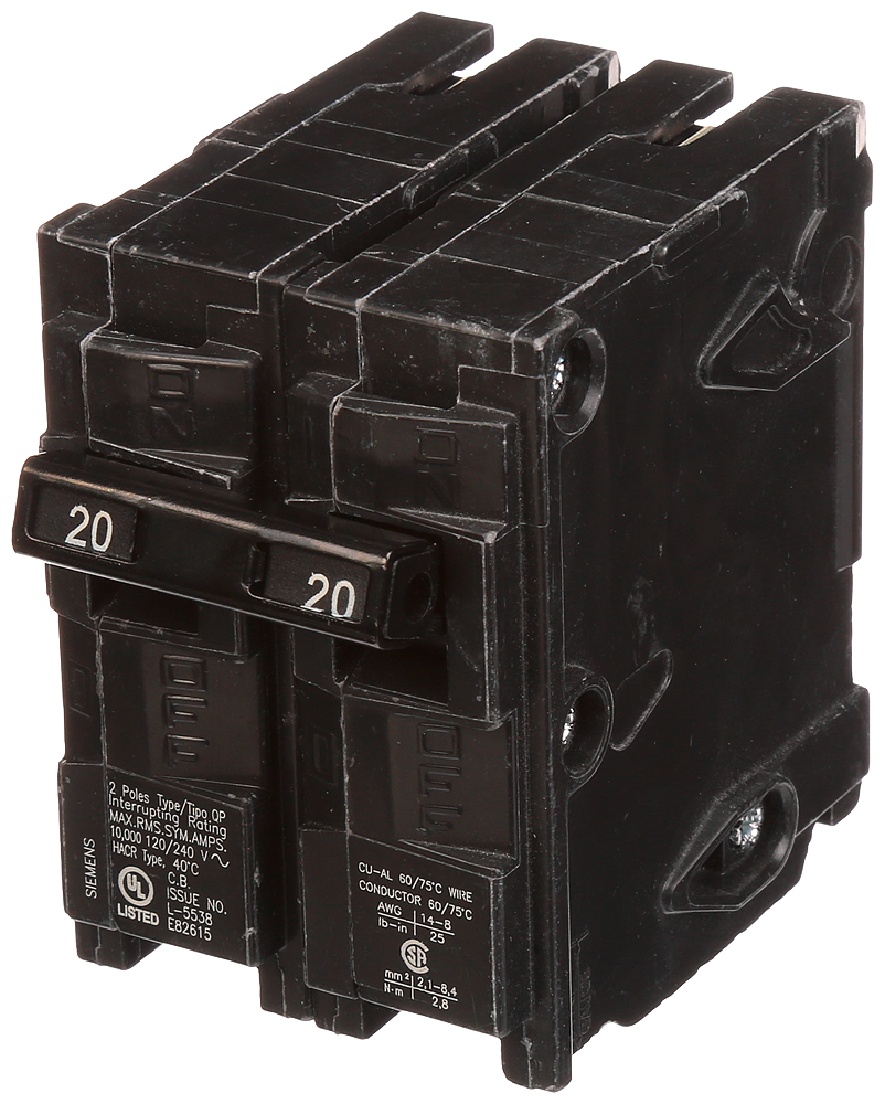 Siemens Q220 2-Pole 120/240 VAC 20 Amp 10 kA Plug-In Common Trip Circuit Breaker