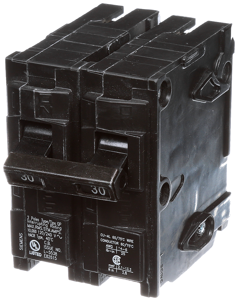 Siemens Q230 2-Pole 120/240 VAC 30 Amp 10 kA Plug-In Common Trip Circuit Breaker