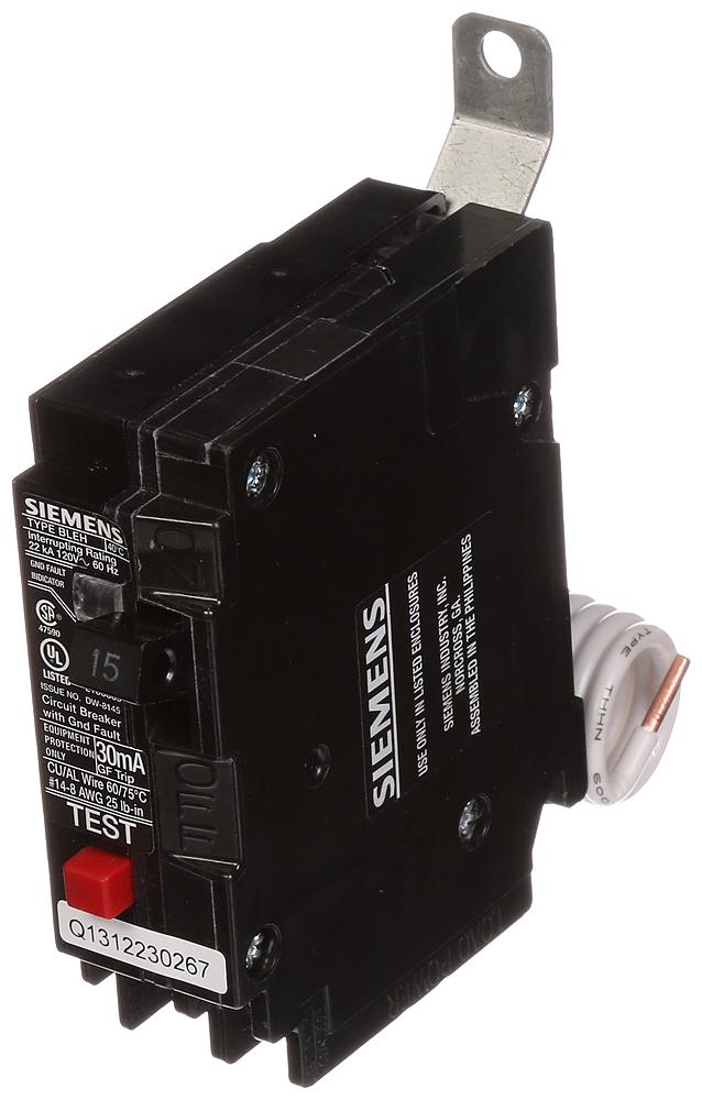 Siemens Industry BE115H 1-Pole 15 Amp 120 VAC 22 kA Bolt-On Circuit Breaker