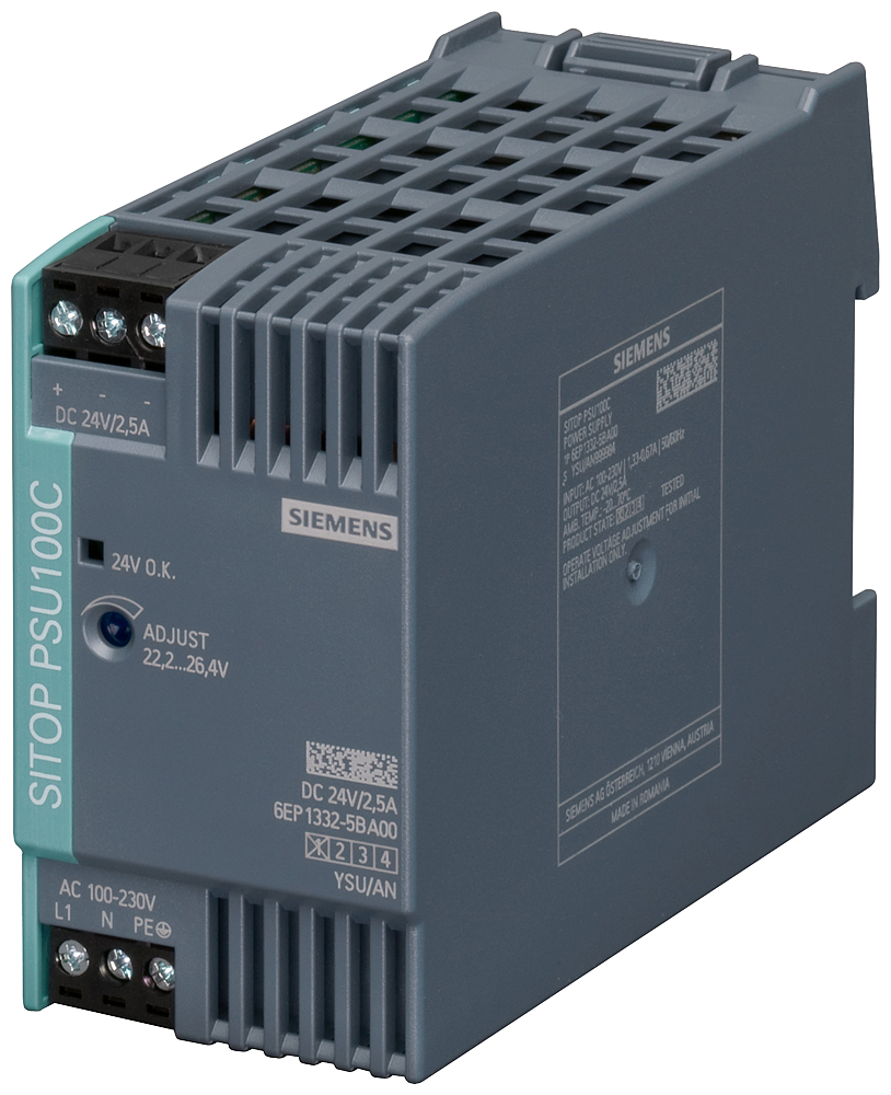 Siemens Industry 6EP1332-5BA00 120/230 VAC Input 24 VDC 2.5 Amp Output Stabilized Power Supply