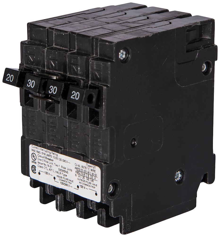 Siemens Industry Q21520CT 1/2-Pole 120/240 VAC 15/20 Amp 10 kA Plug-In Common Trip Quadplex Circuit Breaker