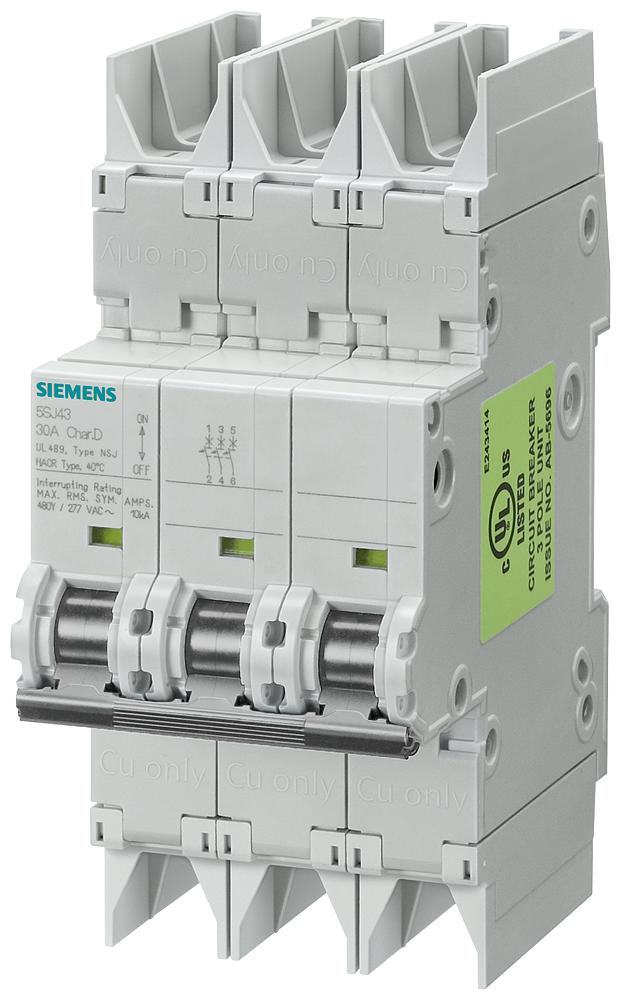 Siemens Industry 5SJ4318-7HG42 3-Pole 480 Star/277 VAC 15 Amp Miniature Circuit Breaker