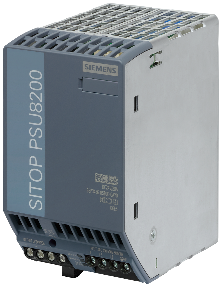 Siemens Industry 6EP34368SB000AY0 400 to 500 VAC Input 24 VDC 20 Amp Output Stabilized Power Supply