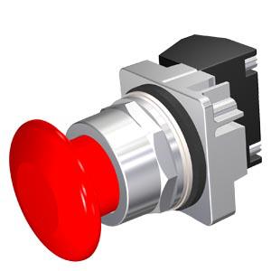 Siemens Industry 52PM9W2A 30 mm 600 VAC 1NO 1NC Red Plastic Mushroom Head Momentary Illuminated Push Button