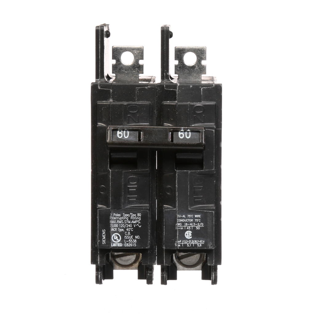 ITE SIEMENS  BQ2B060  CIRCUIT BREAKER BOLT-ON 2 POLE 60 AMP 120//240 VAC