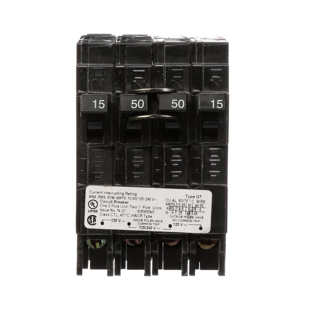 Siemens Q21550CT 1/2-Pole 120/240 VAC 15/50 Amp 10 kA Plug-In Common Trip Quadplex Circuit Breaker
