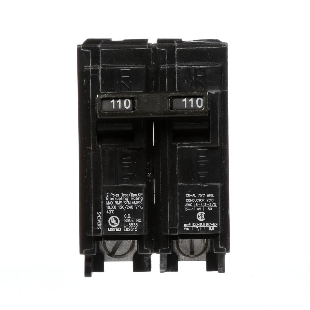Siemens Industry Q2110 2-Pole 120/240 VAC 110 Amp 10 kA Plug-In Common Trip Circuit Breaker