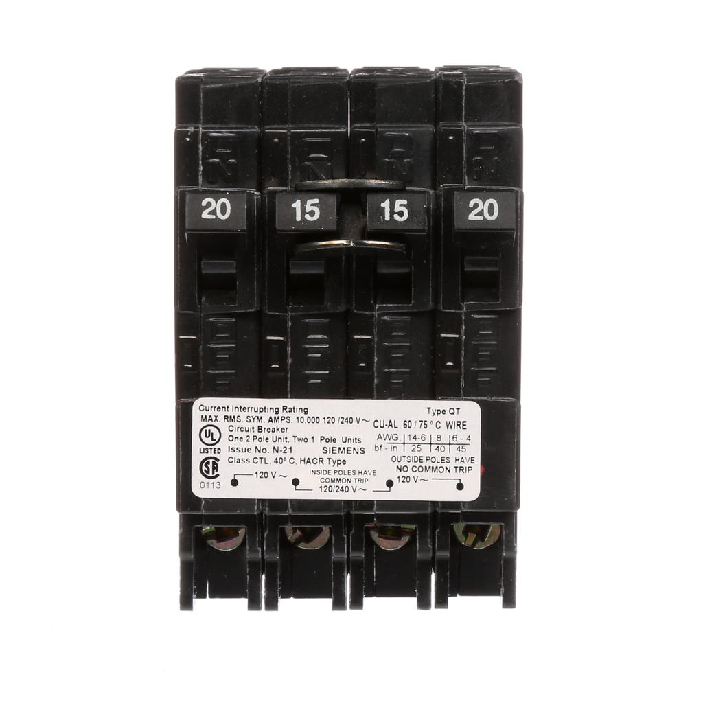 Siemens Industry Q22015CT 2-Pole 20 or 15 Amp 120/240 VAC 10 kA Circuit Breaker