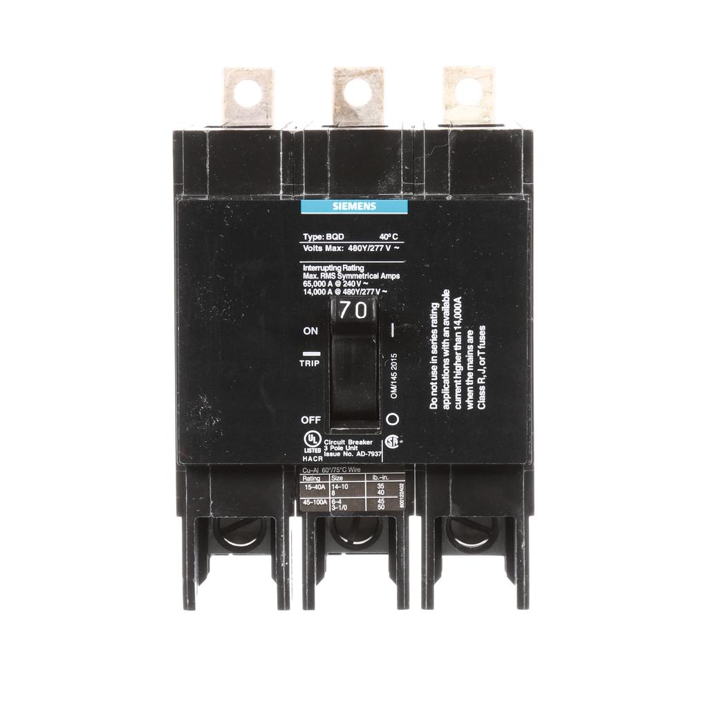 Siemens Industry BQD370 3-Pole 70 Amp 480 VAC 14 kA Molded Case Circuit Breaker