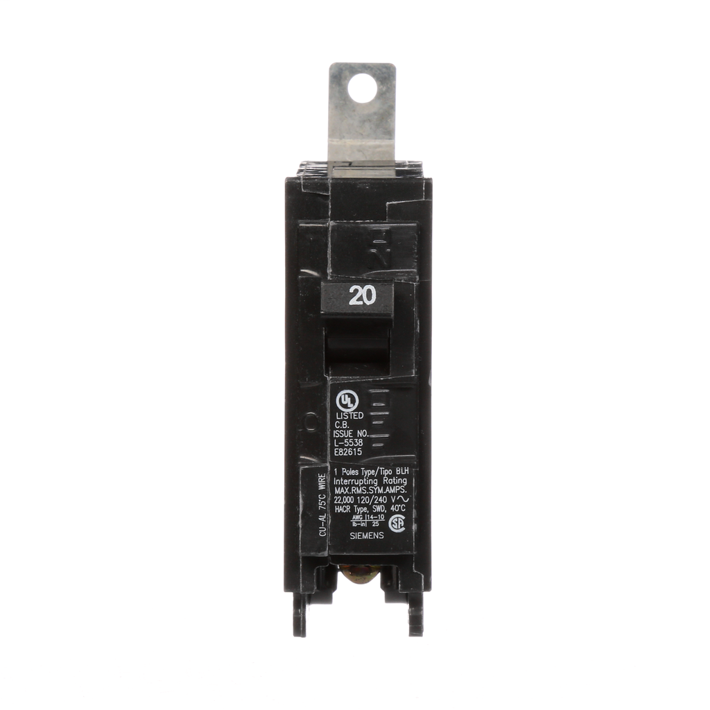 Siemens B120H 1-Pole 20 Amp 120 Volt 22 K Circuit Breaker