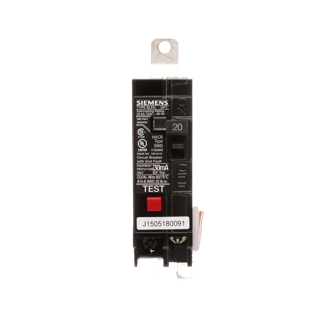 Siemens Industry BE120H 1-Pole 20 Amp 120 VAC 22 kA Bolt-On Circuit Breaker