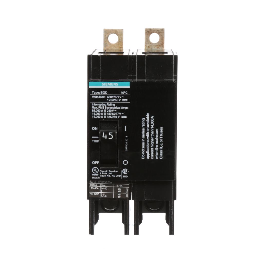 Siemens Industry BQD245 2-Pole 45 Amp 277/480 VAC Molded Case Circuit Breaker