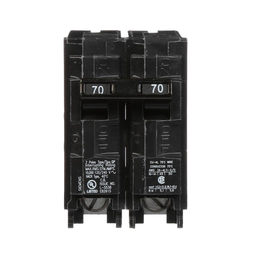 Siemens Industry Q270 2-Pole 120/240 VAC 70 Amp 10 kA Plug-In Common Trip Circuit Breaker