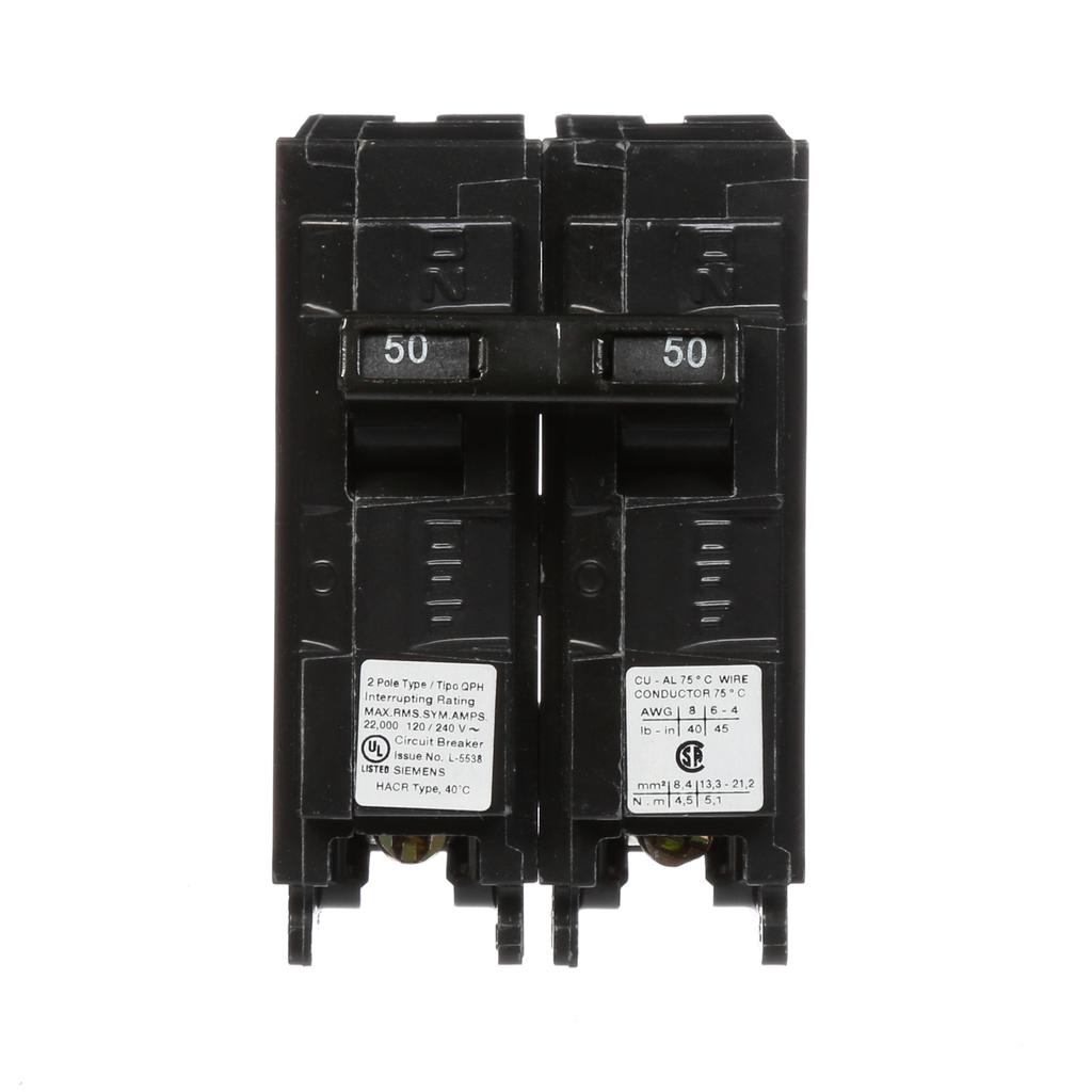 Siemens Industry Q250H 2-Pole 120/240 VAC 50 Amp 22 kA Plug-In Common Trip Circuit Breaker