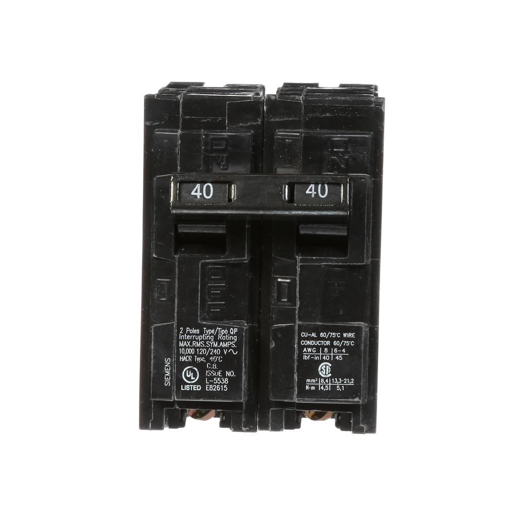 Siemens Industry Q240 2-Pole 120/240 VAC 40 Amp 10 kA Plug-In Common Trip Circuit Breaker