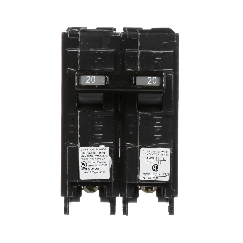 Siemens Industry Q220HH 20 Amp 65 kA 120/240 Volt 2-Pole Type HQP Circuit Breaker