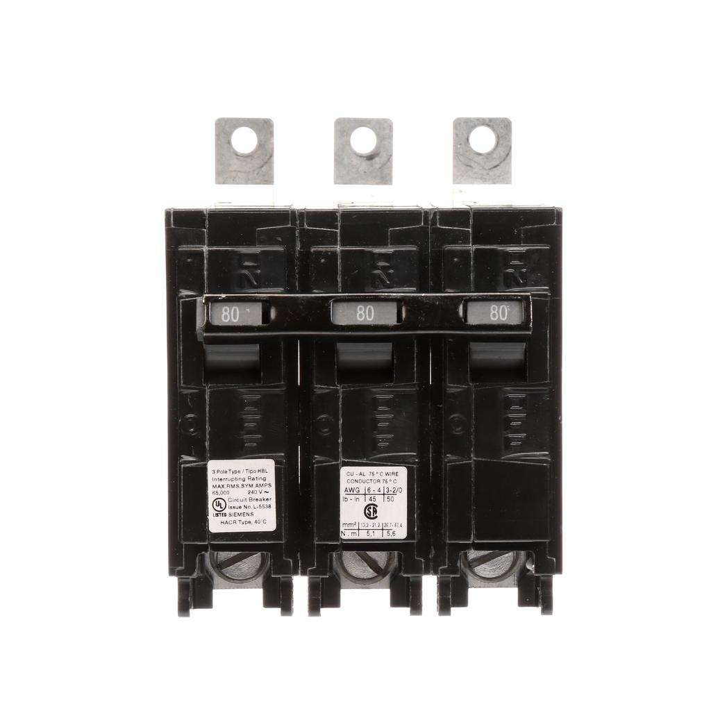 Siemens Industry B380HH 3-Pole 80 Amp 240 Volt 65 kA Bolt-On Molded Circuit Breaker