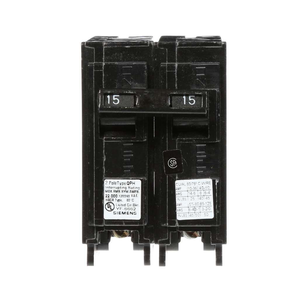 Siemens Q215 2-Pole 15 Amp 120/240 VAC 10 kA Circuit Breaker