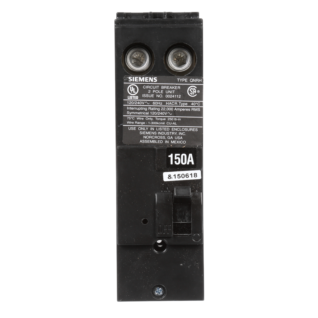 Siemens Industry QN2150RH 120/240 Volt 150 Amp 22 kaic 2-Pole Circuit Breaker