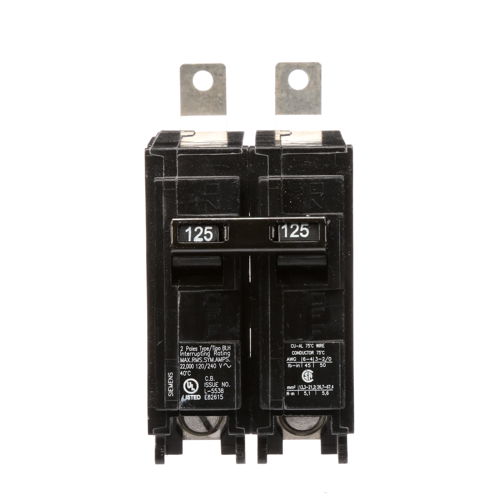 Siemens Industry B2125H 120 and 240 Volt 125 Amp 22 kaic 2-Pole Type BLH Circuit Breaker