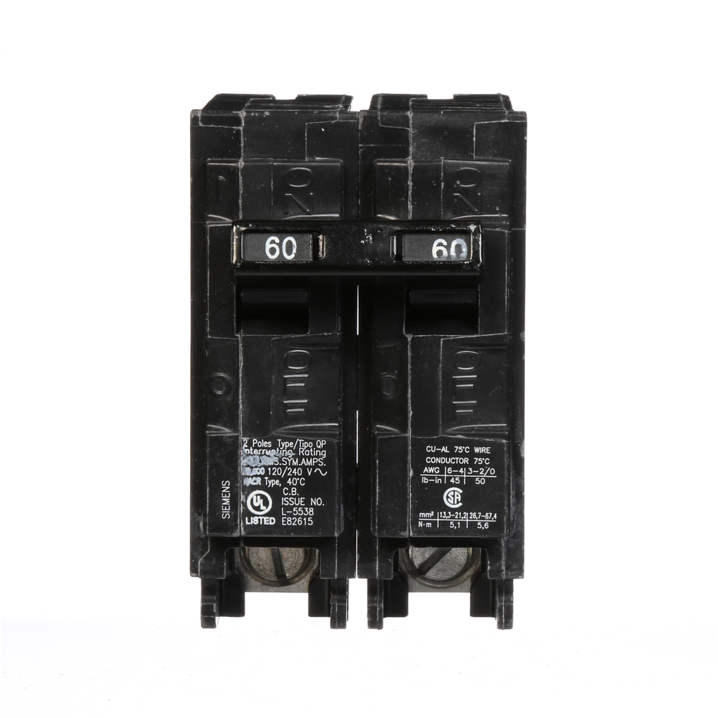 Siemens Industry Q260 2-Pole 120/240 VAC 60 Amp 10 kA Plug-In Common Trip Circuit Breaker