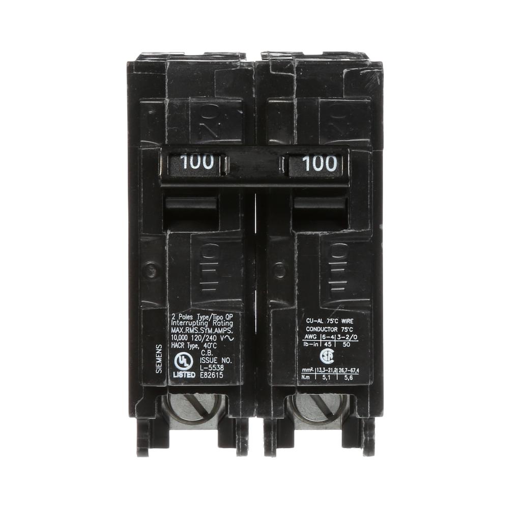 Siemens Industry Q2100 2-Pole 120/240 VAC 100 Amp 10 kA Plug-In Common Trip Circuit Breaker