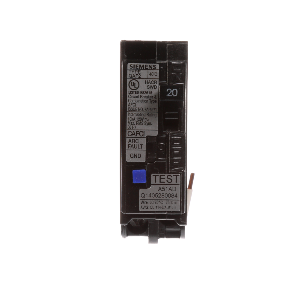 Siemens QA120AFC 1-Pole 20 Amp 120 VAC 10 kA Combination Arc Fault Circuit Breaker