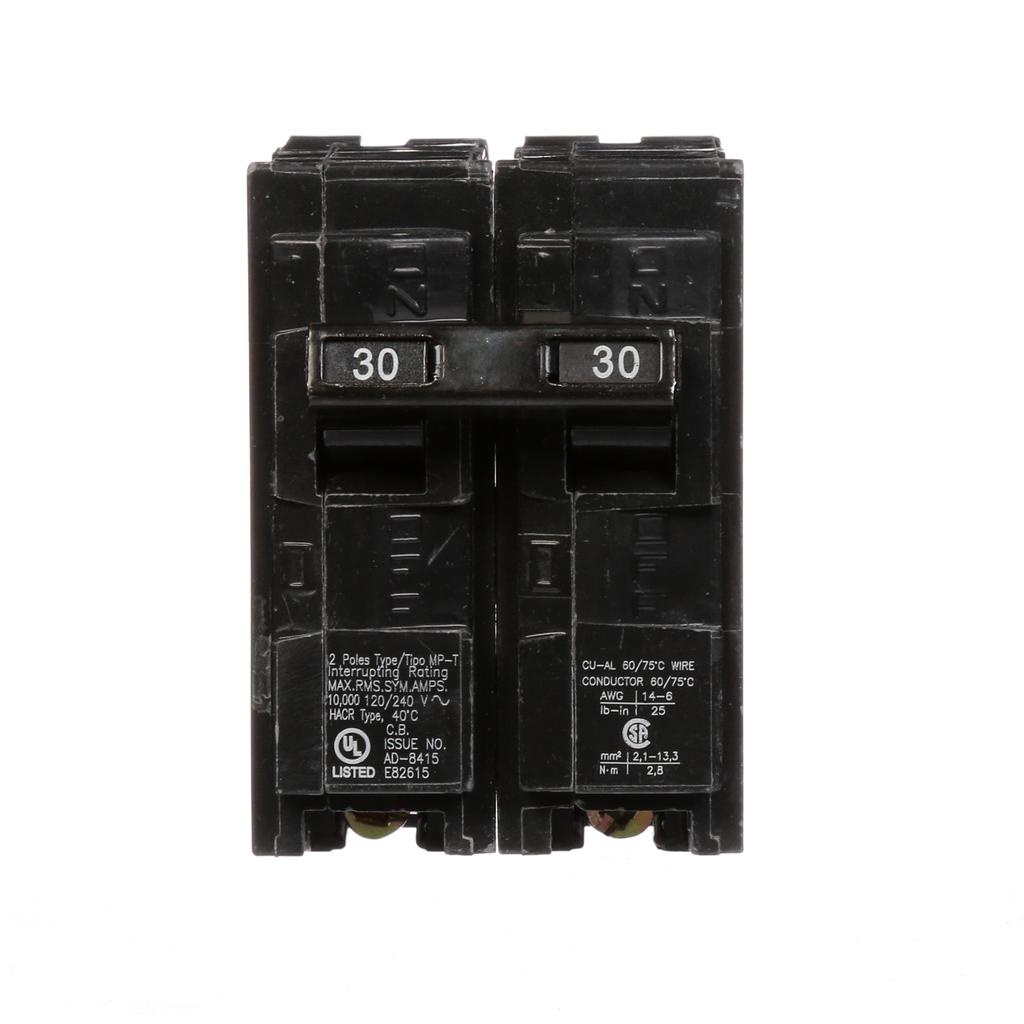 Siemens MP230 2-Pole 120/240 VAC 30 Amp 10 kA Plug-In Common Trip Circuit Breaker