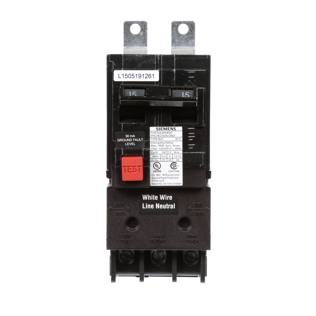 Siemens Industry BE215 2-Pole 15 Amp 120/240 VAC 10 kA Equipment Protection Bolt-On Ground Fault Circuit Breaker