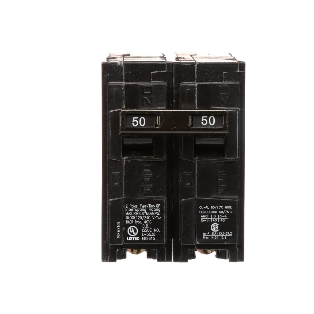 Siemens Q250 2-Pole 50 Amp 120/240 VAC 10 kA Plug-In Circuit Breaker