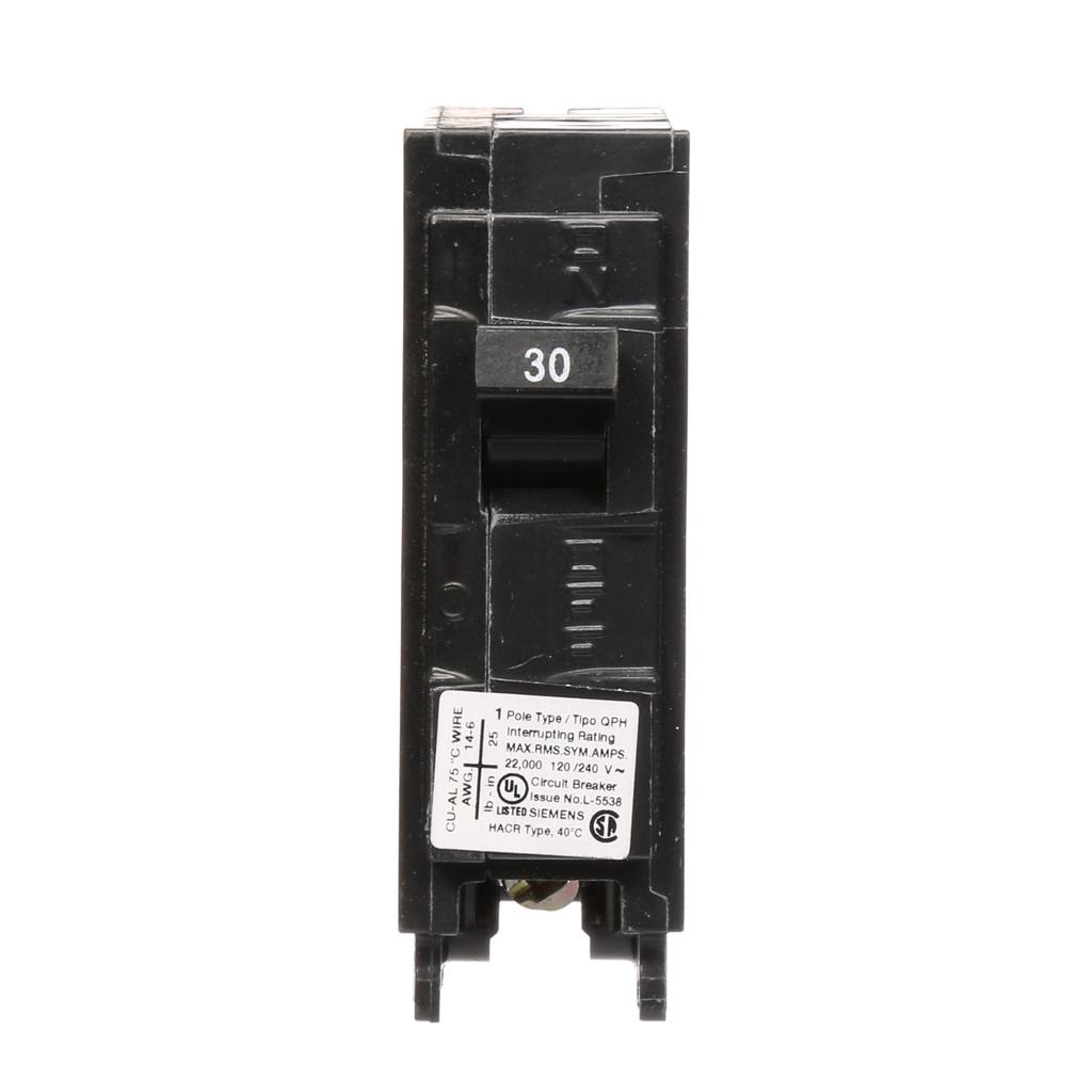 Siemens Industry Q130H 1-Pole 30 Amp 120 VAC 22 kA Plug-In Circuit Breaker