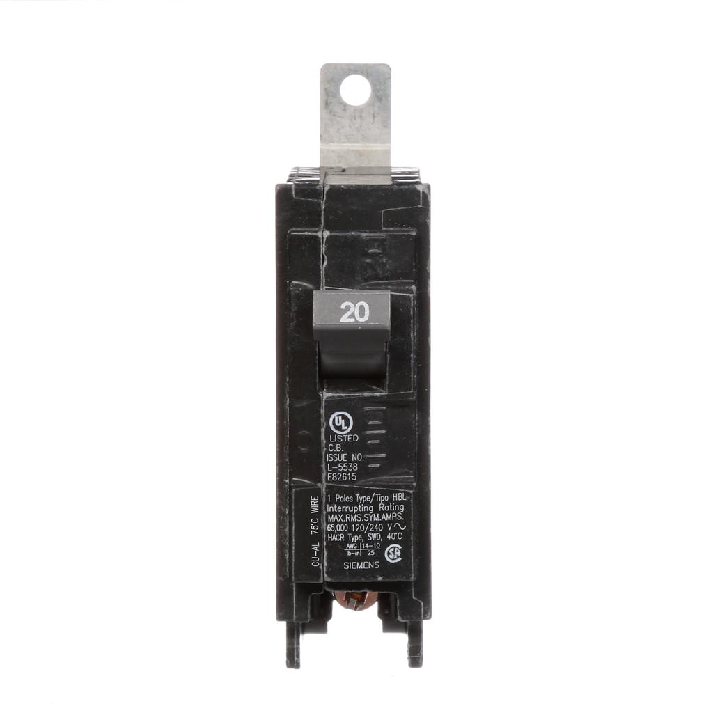 Siemens B120HH 1-Pole 20 Amp 120 VAC 65 kA Bolt-On Molded Case Circuit Breaker Circuit Breaker